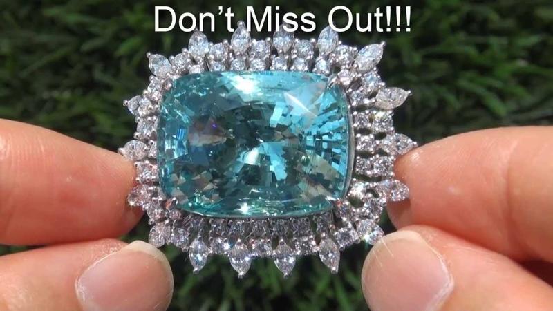 HUGE Investment Grade VVS1 Clarity 49.14 Carat Natural Aquamarine Diamond Ring 18K Gold