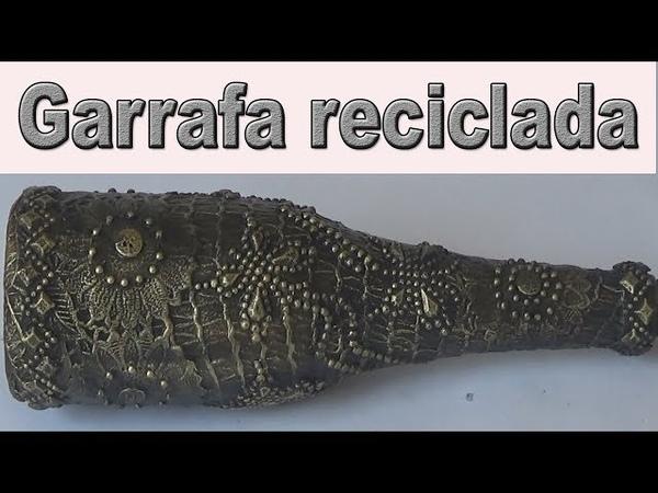 GARRAFA DECORADA COM SACO DE LARANJA