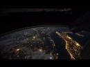 Вид ночью из космоса на планету Земля