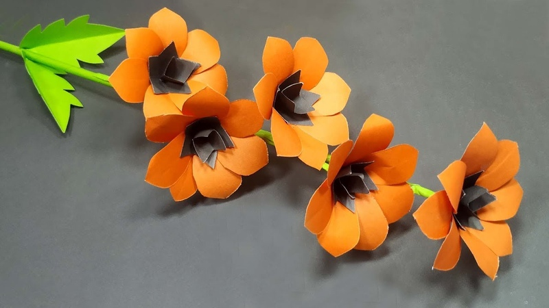 Paper Craft How to Make Beautiful Stick Flower with Paper Flower Tutorial Abigail Paper Crafts
