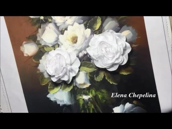 Пышная роза из атласной ленты Lush rose from satin ribbon