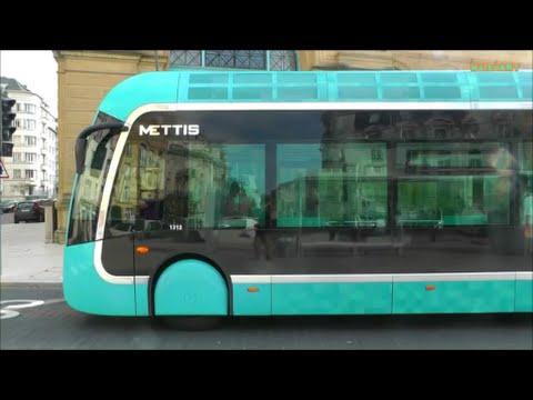 METTIS in Metz - Busway-Linien (Van Hool) Diesel-Hybrid Busse - Tram