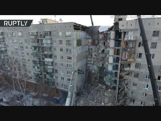 Последствия обрушения подъезда жилого дома в Магнитогорске