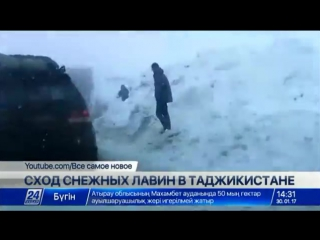 Сход снежных лавин в Таджикистане
