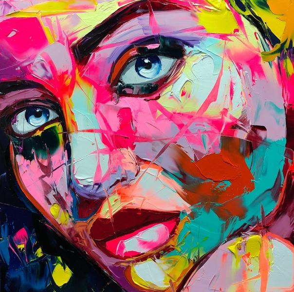Динамичные масляные картины Франсуаза Нелли. Художник Франсуаза Нелли создает динамичные портреты, которые находят порядок в хаосе. Используя яркий масляный пигмент и разнообразные ножи, она