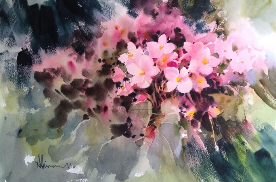 Пышные гроздья цветов в технике alla prima (by Adisorn Pornsirikarn)