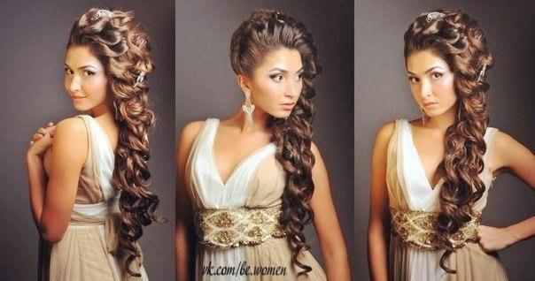 Причёска на свадьбу на длинные волосы для гостей фото