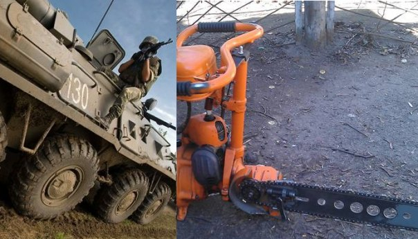 Ополченцы Донецкой народной республики смогли захватить украинский БТР вместе со всем экипажем с помощью бензопилы.