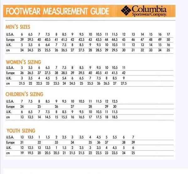 Columbia (коламбия), columbia размерная сетка 2t - на