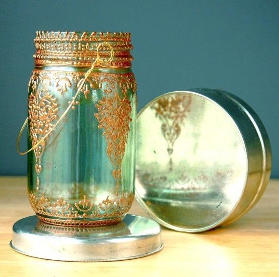 Роспись стеклянных баночек - подсчвечников в марокканском стиле