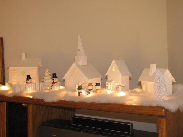 Новогодние светящиеся домики из бумаги своими руками