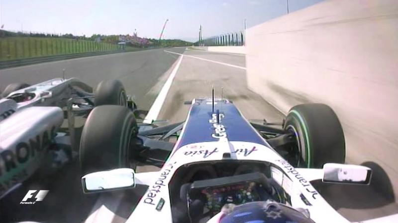 Schumacher Squeezes Barrichello | 2010 Hungarian Grand Prix