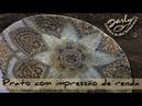 Como fazer um prato de cerâmica com impressão de rendas