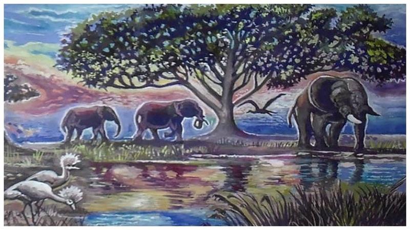 Как нарисовать гуашью африканский пейзаж поэтапно. Урок для начинающих