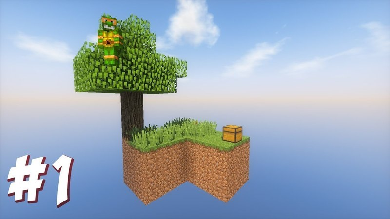 Майнкрафт выживание на острове SkyBlock 1 серия