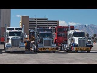 CONEXPO TRUCKING LAS VEGAS ++ MACHINES ARRIVING OVERSIZE LOAD