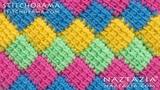 How to Crochet Entrelac - Tunisian Interlaced Patchwork Diamonds Entrelec by Naztazia