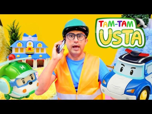 Tam Tam Usta oyuncak arabalarla oyunlar. Otobüs Tayo ve Robocar Poli çizgi film oyuncakları