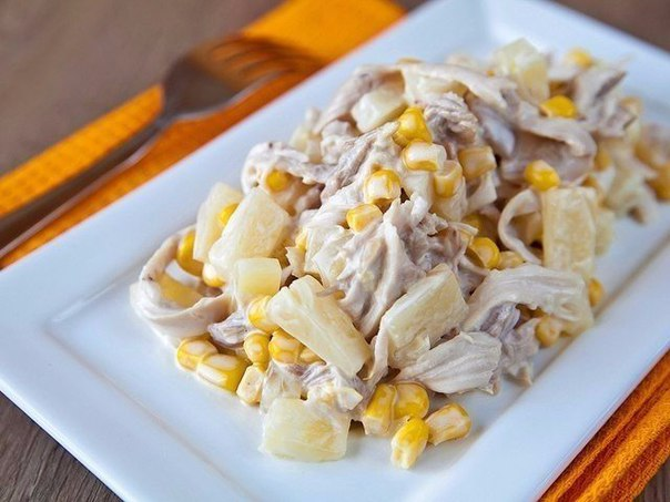 Салат с курицей и ананасами рецепт