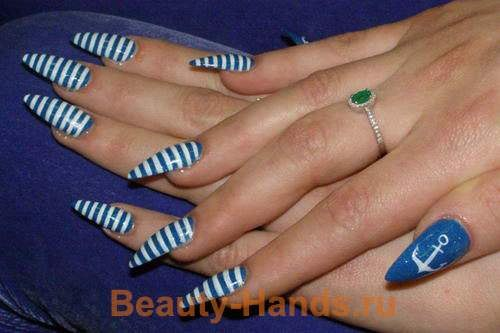 полосатый дизайн ногтей: