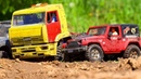 RC Trucks MUD and Splashes — KAMAZ, Jeep Wrangler Rubicon MST CFX, Toyota Land Cruiser Axial SCX10