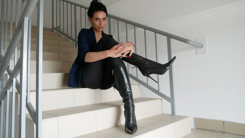 Kristina's pointed toe high heels Gianmarco Lorenzi black leather boots Size EU 39,5 US 8,5