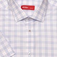 e6744f8016b3fc9 Приталенная белая рубашка с коротким рукавом в широкую голубую клетку