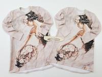 Футер 2х нитка с лайкрой купонный Девушка с цветами
