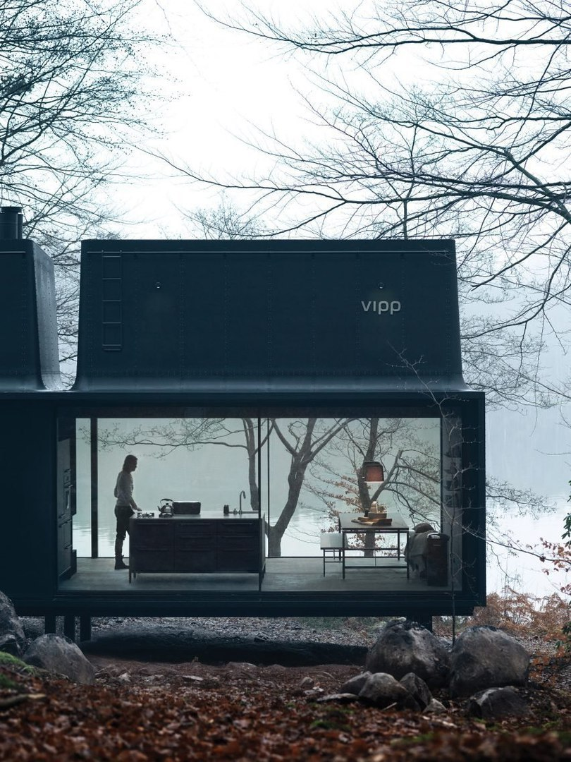 """Fiv7Su6eTLw - Vipp prefabricated cabins designed as """"battery-charging stations for humans"""""""