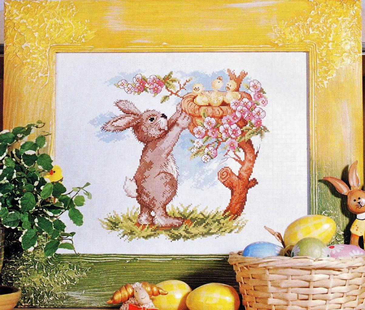 пасхальный кролик схема вышивки крестом