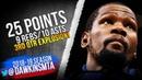 Kevin Durant Full Highlights 2018.12.05 Warriors vs Cavs - 25-10-9! | FreeDawkins