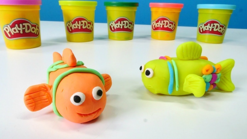 PlayDoh Schule. Wir machen einen Fisch. Video für Kinder