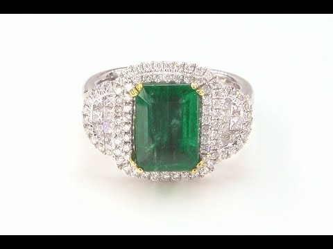 GIA Certified Green Emerald Diamond Ring 4 55 tcw Natural Beryl Gemstone C1151