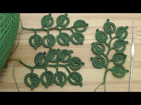Вязание крючком ВЕТОЧКИ с ЛИСТИКАМИ мотив для ирландского кружева crochet irish lace