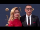 Vampires on the carpet Fred Armisen hits the Emmys in fangs next to @nlyonnes blood red dress