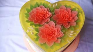 How to make Gelatin Art flowers - Gelatin art tutorial | Gelatina Artística, 3D Gelatin cake 2018