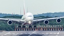 Airbus A380 CROSSWIND LANDING with a WIND GUST over the runway 4K