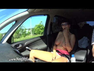 Flashing in the car and supermarket  naughty lada