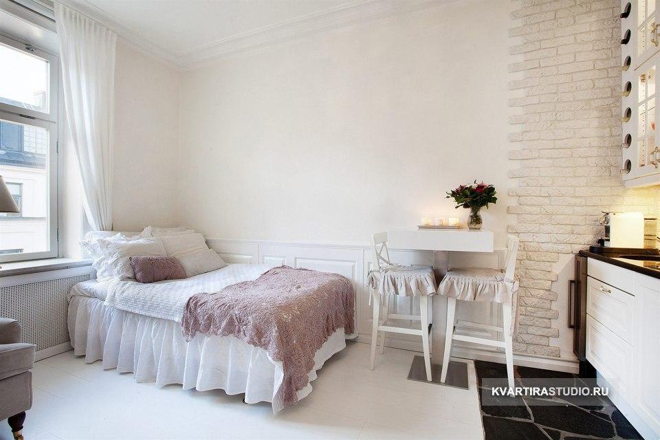 Дизайн маленькой квартиры 23 м в стиле прованс - http://kvartirastudio.
