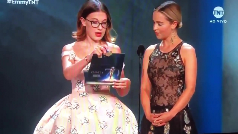 Emilia Clarke and Millie Bobby Brown presenting at tonight's Emmys.