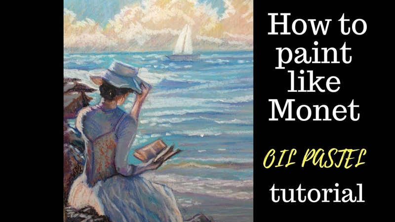 """Oil pastel tutorial – Woman by the sea – inspired by Claude Monet """"Lady with Parasol"""""""