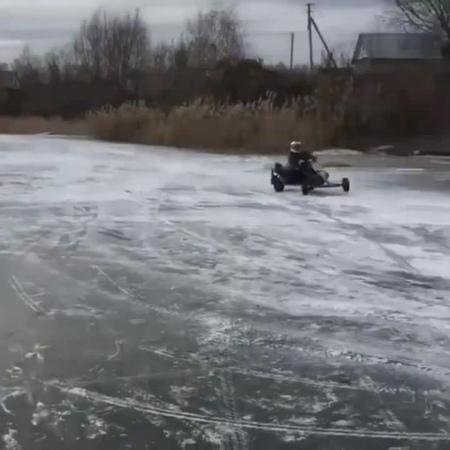 Gokart spins on ice