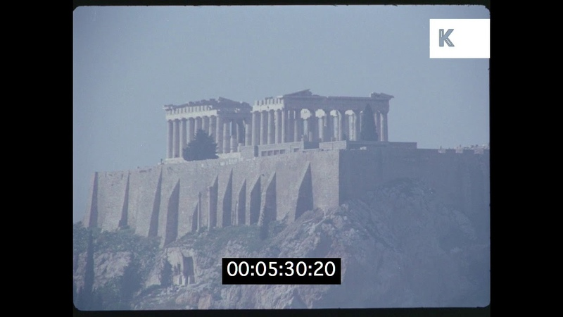 Athens Skyline and Acropolis, 1960s Greece, HD