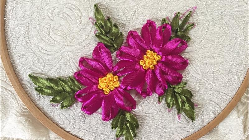 D.I.Y Easy Handmade Ribbon Embroidery for beginner Hướng dẫn thêu ruy băng cơ bản bài 4
