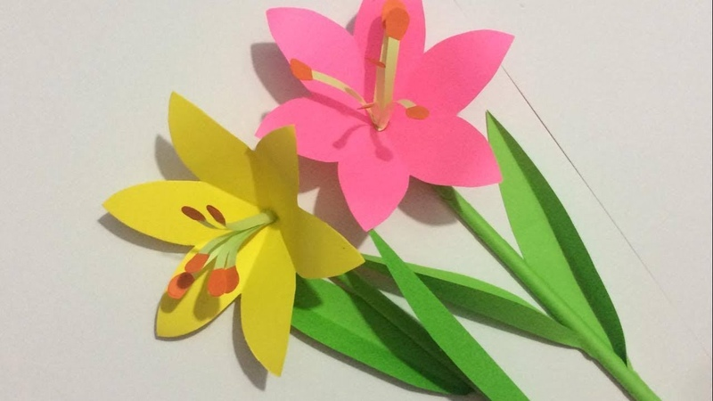 How to Make Lily Flower with Paper | Making Paper Flowers Step by Step | DIY-Paper Crafts