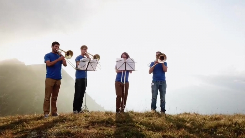 The Verbier Festival Orchestra musicians playing at sunset
