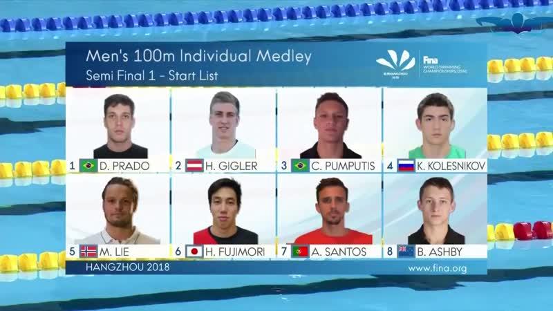 World Swimming Championship - 100m Individual Medley Men - Semi Final