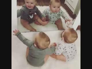Смешные малыши и зеркало