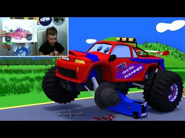 Монстр трак проколол шину эвакуатор отвезет его на шиномонтажную станцию Мультфильм для детей