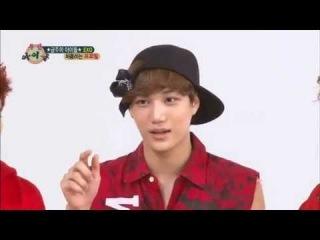 EXO kai imitating Krong(pororo) and Squidward(spongebob)